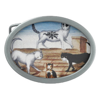 Vintage French Cats on a Roof Belt Buckles