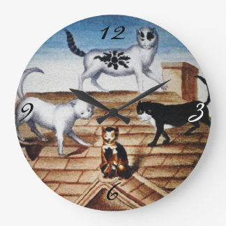 Vintage French Cats on a Roof Clocks