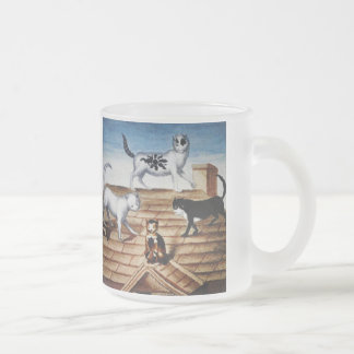 Vintage French Cats on a Roof Frosted Glass Coffee Mug