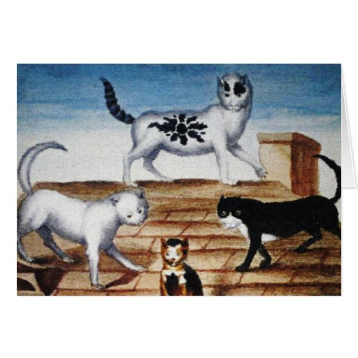 Vintage French Cats on a Roof Greeting Card