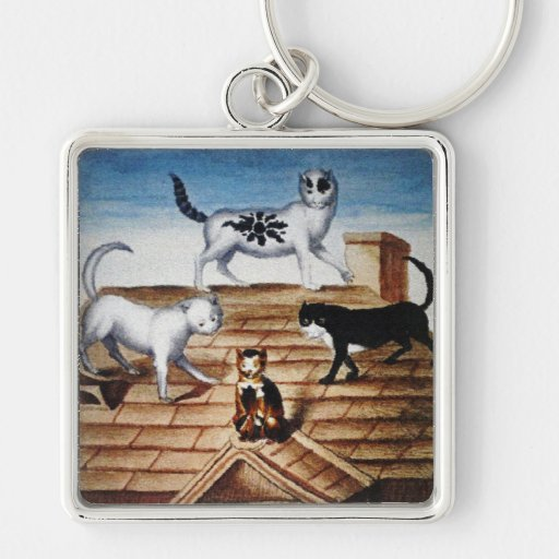 Vintage French Cats on a Roof Keychain