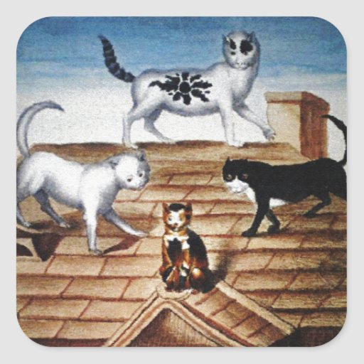 Vintage French Cats on a Roof Square Sticker