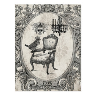 Vintage French chair and bird postcard