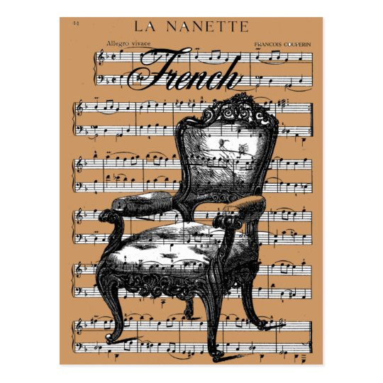 Vintage French Chair and Music Postcard