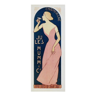 Vintage French champagne ad vertical banner Poster