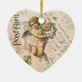 Vintage French Cherub Valentine heart ornament