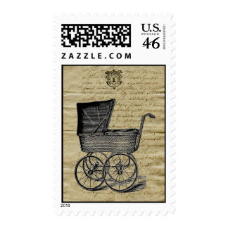 Vintage French Chic Baby Carriage Stamps