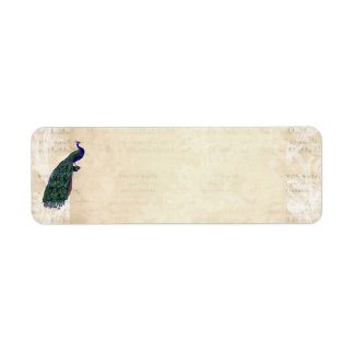Vintage French Chic Blue Peacock Address Label