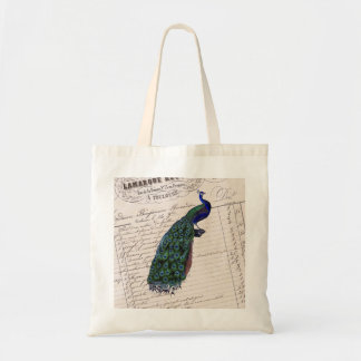 Vintage French Chic Blue Peacock Budget Tote Bag