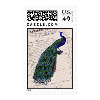 Vintage French Chic Blue Peacock Postage Stamp