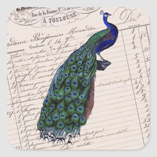Vintage French Chic Blue Peacock Square Sticker