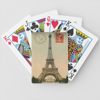 Vintage French Chic Eiffel Tower Paris Postcard Bicycle Playing Cards