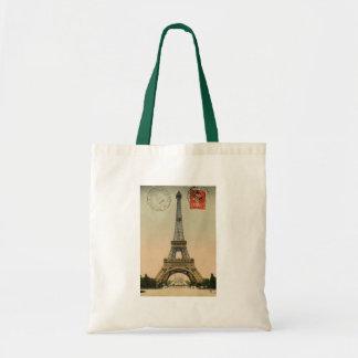 Vintage French Chic Eiffel Tower Paris Postcard Budget Tote Bag