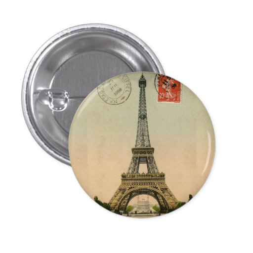 Vintage French Chic Eiffel Tower Paris Postcard Pin