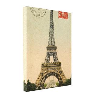 Vintage French Chic Eiffel Tower Paris Postcard Canvas Print