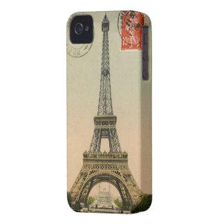 Vintage French Chic Eiffel Tower Paris Postcard Case-Mate iPhone 4 Cases