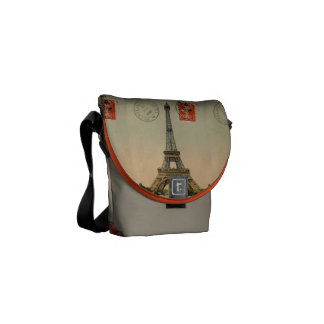 Vintage French Chic Eiffel Tower Paris Postcard Courier Bag