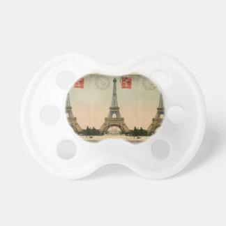 Vintage French Chic Eiffel Tower Paris Postcard Pacifier