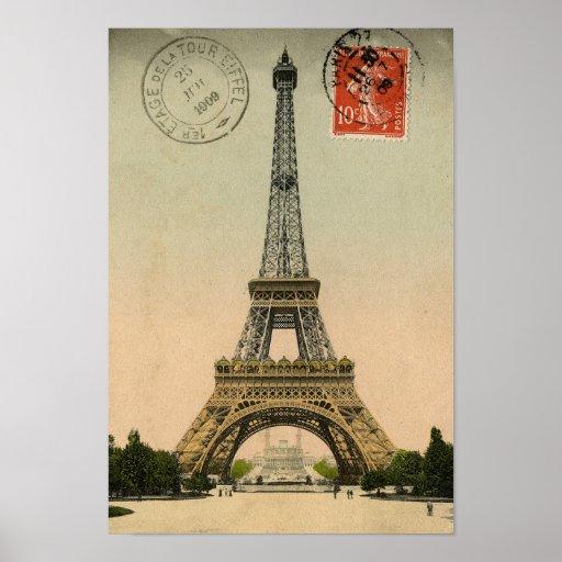 Vintage French Chic Eiffel Tower Paris Postcard Print