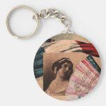 Vintage French Chic Fan Romantic Flag Lady Key Chain