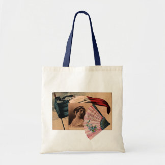 Vintage French Chic Fan Romantic Flag Lady Tote Bag