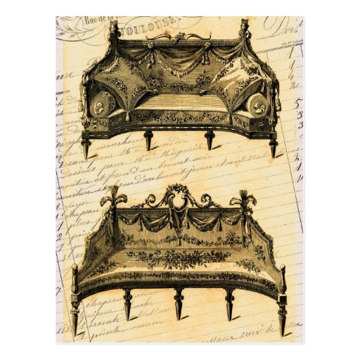 Vintage French Chic Furniture settees Postcard