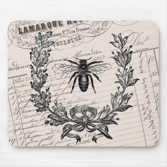 Vintage French Chic Honey Bee Mouse Pad