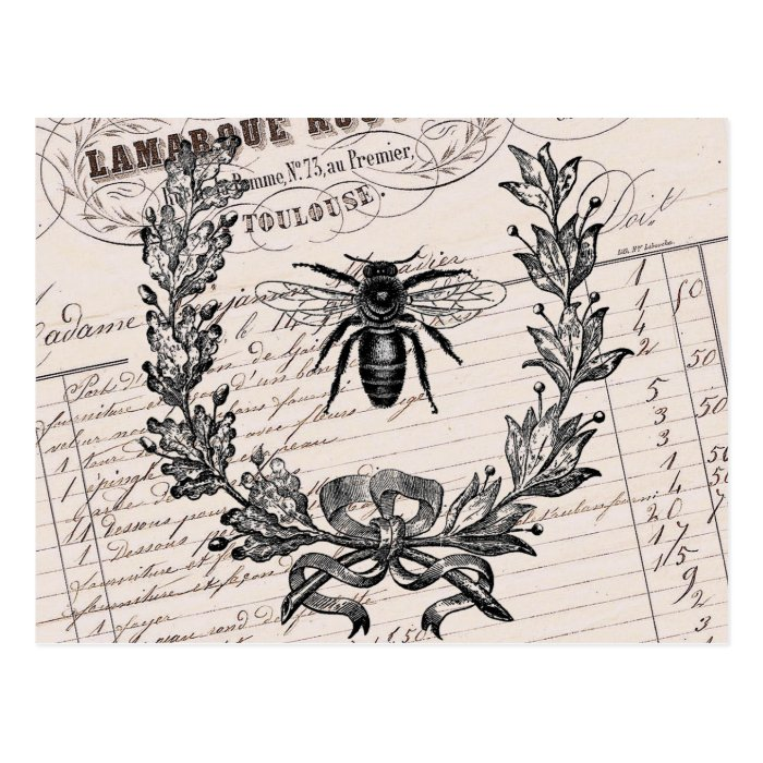 Vintage French Chic Honey Bee Postcard