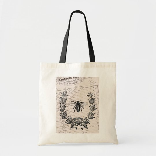 Vintage French Chic Honey Bee Tote Bag