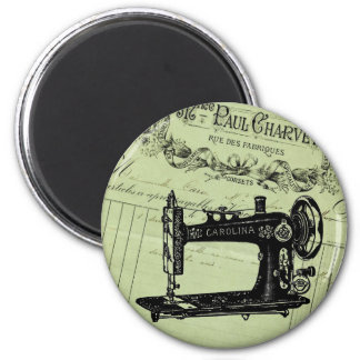 Vintage French Chic Sewing machine 2 Inch Round Magnet