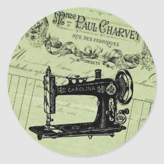 Vintage French Chic Sewing machine Classic Round Sticker