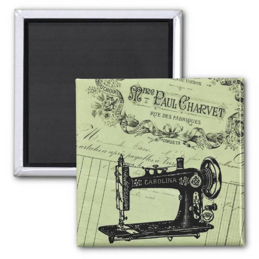 Vintage French Chic Sewing machine 2 Inch Square Magnet