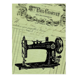Vintage French Chic Sewing machine Postcard