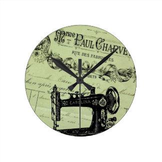 Vintage French Chic Sewing machine Round Clock