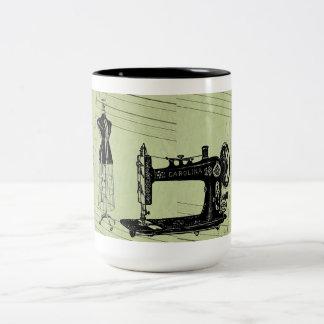 Vintage French Chic Sewing machine Two-Tone Coffee Mug