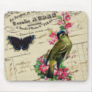 Vintage French Chic Spring Bird Collage Mouse Pad