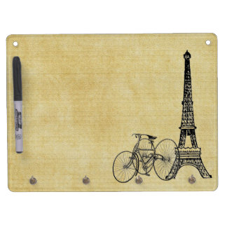 Vintage French Chic Steampunk Eiffel Tower Bicycle Dry Erase Board With Keychain Holder
