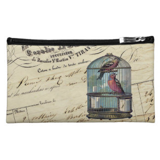 Vintage French Chic Victorian Birdcage Love Birds Cosmetic Bag