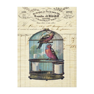 Vintage French Chic Victorian Birdcage Love Birds Canvas Print