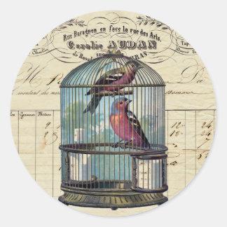 Vintage French Chic Victorian Birdcage Love Birds Classic Round Sticker