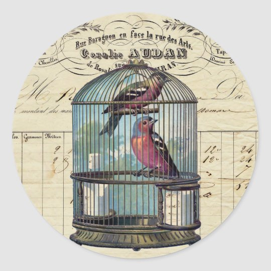 Vintage French Chic Victorian Birdcage Love Birds Classic Round Sticker