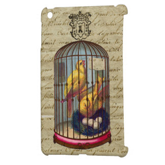 Vintage French Chic Victorian Birdcage Love Birds iPad Mini Cases