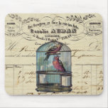 Vintage French Chic Victorian Birdcage Love Birds Mouse Pad