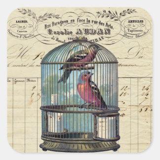 Vintage French Chic Victorian Birdcage Love Birds Square Sticker