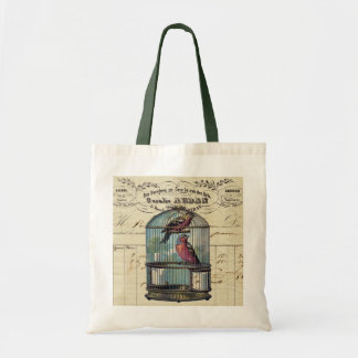 Vintage French Chic Victorian Birdcage Love Birds Tote Bag