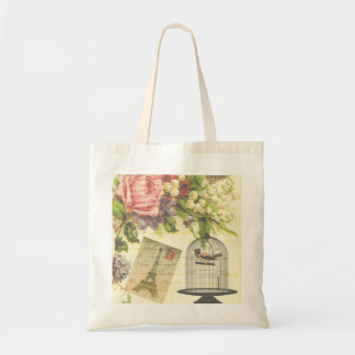 Vintage French Chic Victorian Birdcage Tote Bag