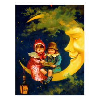 Vintage French Children sitting on a crescent moon Postcard