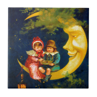 Vintage French Children sitting on a crescent moon Small Square Tile