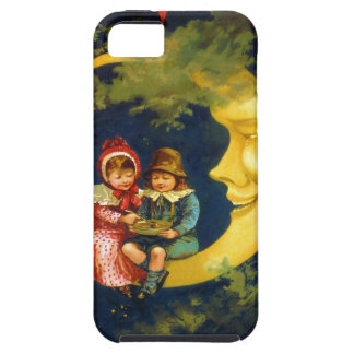 Vintage French Children sitting on moon cute iPhone SE/5/5s Case