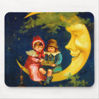 Vintage French Children sitting on moon cute Mouse Pad
